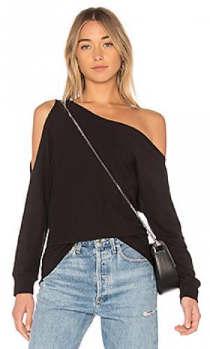 Пуловер на одно плечо Lanston. Цвет: черный