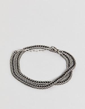 Seven London Серебристый браслет-цепочка. Цвет: черный