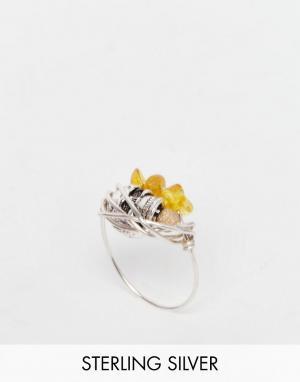 Kat&Bee Витое кольцо с янтарем и черепом Kat & Bee. Цвет: серебряный