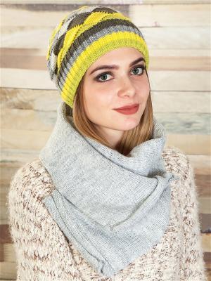 Комплект (шапка, шарф) LORICCI. Цвет: светло-серый
