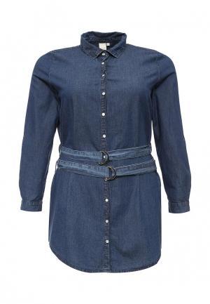 Рубашка джинсовая LOST INK CURVE. Цвет: синий