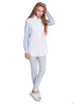 Рубашка JATRAW. Цвет: белый, голубой