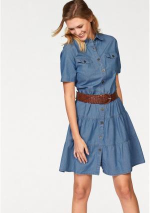 Джинсовое платье CHEER. Цвет: синий