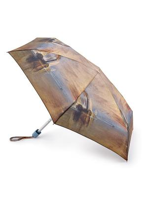 Зонт женский механика Fulton. Цвет: коричневый