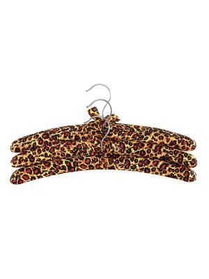 Набор вешалок из 3 штук Леопард с бантиком EL CASA. Цвет: желтый, черный, красный