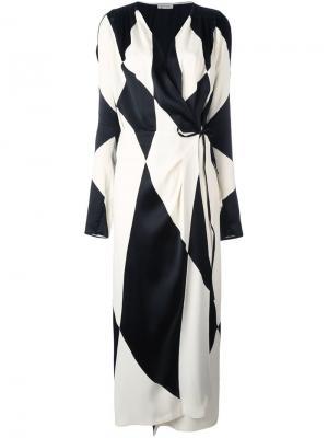 Платье в крупный ромб Attico. Цвет: чёрный