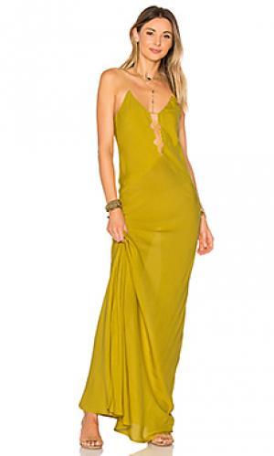 Макси платье berawa Acacia Swimwear. Цвет: горчичный