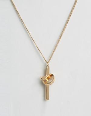 Chained & Able Золотистое ожерелье с крестиком. Цвет: золотой