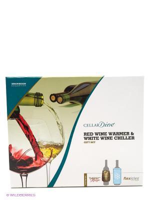 Therm au Rouge & Flexicles Bottle Chiller набор - нагреватель красного вина и охладитель белого CELLARDINE. Цвет: бронзовый, голубой