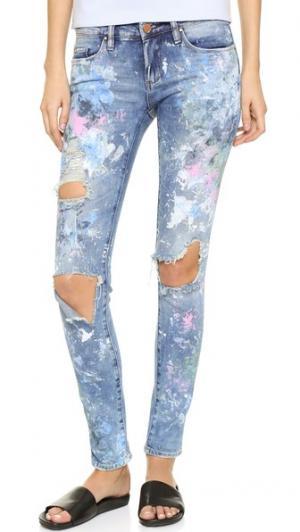 Искусственно состаренные джинсы-скинни RJP x Blank Denim Rialto Jean Project. Цвет: good vibes с краской
