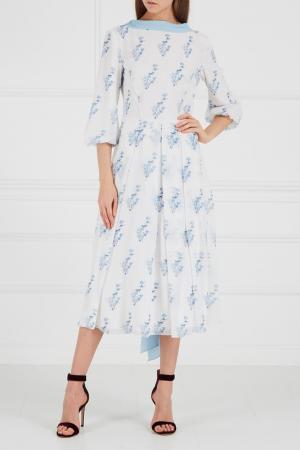 Платье белое с голубым принтом A LA RUSSE. Цвет: белый