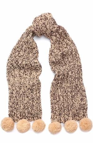 Шерстяной шарф с отделкой металлизированной нитью и помпонами 0711. Цвет: бежевый