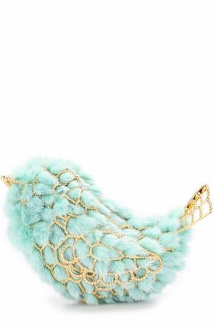 Клатч с отделкой из меха норки Natasha Zinko. Цвет: голубой