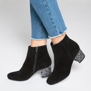 Сапоги кожаные на каблуке с блестками La Redoute Collections. Цвет: синий морской,сливовый,черный