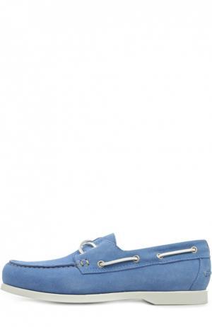Замшевые топсайдеры с контрастным шнурком Kiton. Цвет: голубой