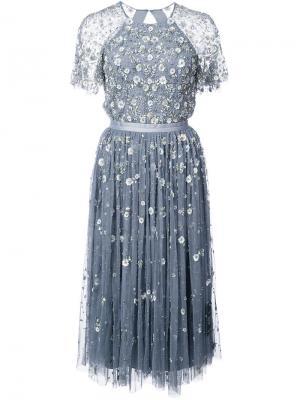Floral sequin appliqué dress Needle & Thread. Цвет: синий