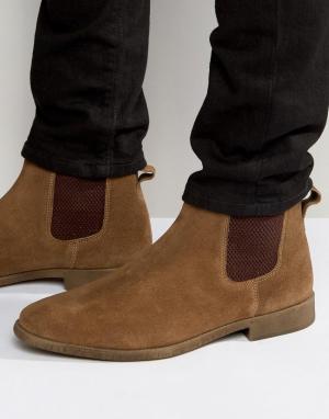 KG Kurt Geiger Светло-коричневые замшевые ботинки челси By Guildford. Цвет: рыжий