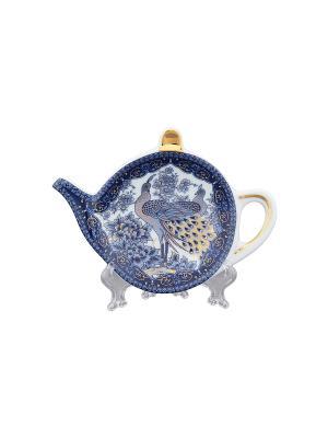 Подставка под чайный пакетик Павлин синий Elan Gallery. Цвет: синий