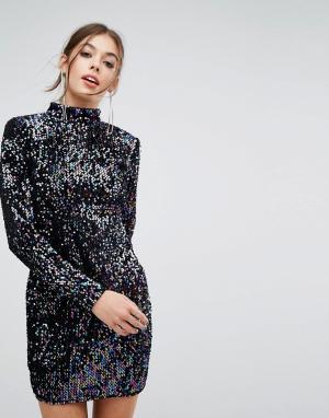 PrettyLittleThing Платье с длинными рукавами и пайетками. Цвет: мульти