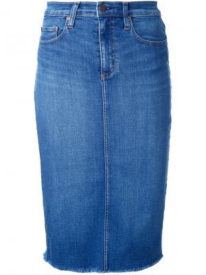 Джинсовая юбка-карандаш Cult Nobody Denim. Цвет: синий