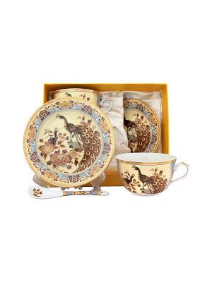 Чайная пара Павлин на бежевом Elan Gallery. Цвет: бежевый, золотистый, коричневый