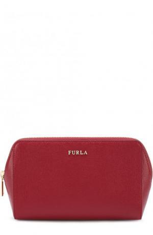 Набор косметичек из тисненой сафьяновой кожи Electra Furla. Цвет: красный