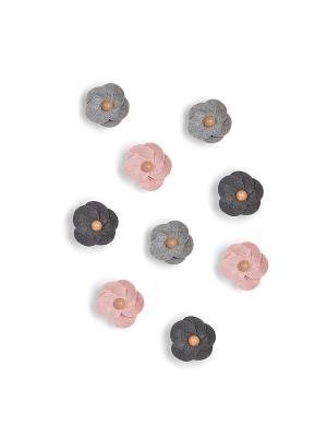 Декор для стен (9 штук) FELTRA FLOWER разноцветный Umbra. Цвет: розовый, серый, темно-серый