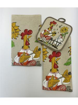 Набор полотенец A and C Collection. Цвет: бежевый, оранжевый, желтый