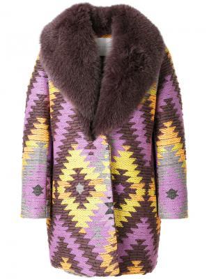 Fox fur collar embroidered coat Giada Benincasa. Цвет: многоцветный