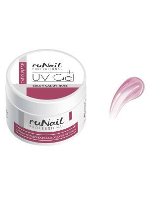 Камуфлирующий УФ-гель (цвет: Розовая карамель, Candy Rose), 15 гRuNail Professional 921 RuNail. Цвет: белый
