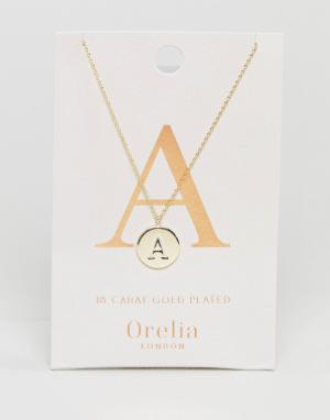 Orelia Позолоченное ожерелье с инициалом А на подвеске-диске. Цвет: золотой
