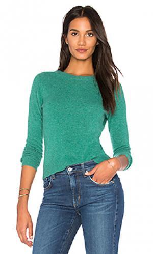 Пуловер White + Warren. Цвет: зеленый