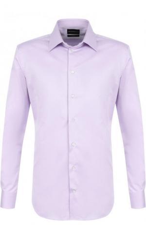 Хлопковая сорочка с воротником кент Emporio Armani. Цвет: светло-сиреневый