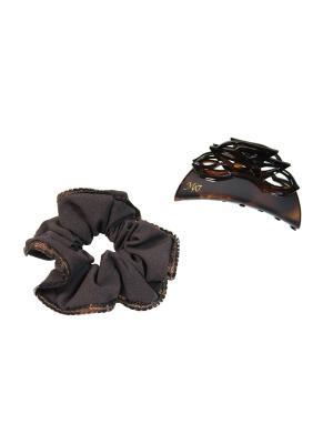 Комплект (Заколка-краб, резинка) Lastoria. Цвет: коричневый