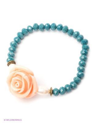 Браслет Polina Selezneva. Цвет: синий, светло-коралловый, белый