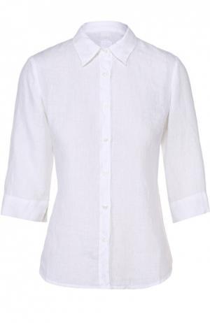 Льняная приталенная блуза с укороченным рукавом 120% Lino. Цвет: белый