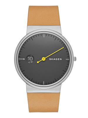 Часы SKAGEN. Цвет: бежевый, серебристый, серый