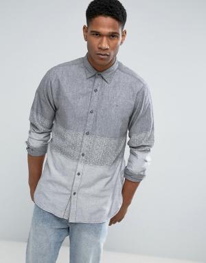 Hilfiger Denim Серая джинсовая рубашка классического кроя в полоску омбре Tommy Hilfi. Цвет: серый