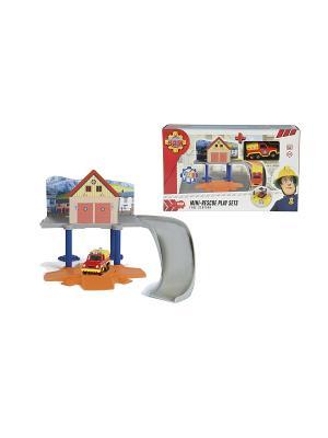 Пожарный Сэм, Маленький гараж+1 машинка, 1/8 Dickie. Цвет: серый, желтый, синий