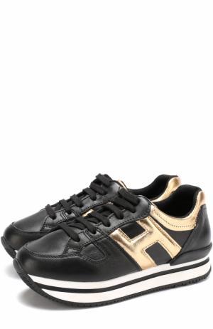 Кожаные кроссовки с металлизированной отделкой на толстой подошве Hogan. Цвет: черный
