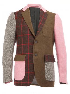 Лоскутный пиджак Wooster + Lardini. Цвет: многоцветный
