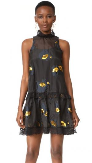 Вечернее платье с металлизированным цветочным рисунком Cynthia Rowley. Цвет: голубой