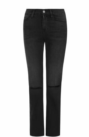 Укороченные расклешенные джинсы с потертостями Frame Denim. Цвет: серый