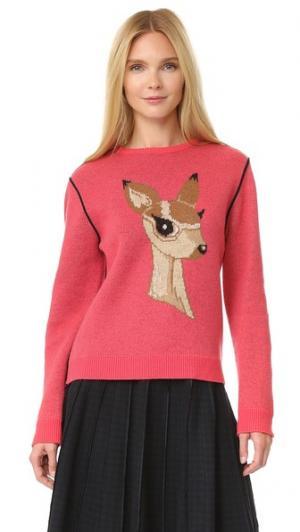 Свитер с изображением оленя pushBUTTON. Цвет: розовый
