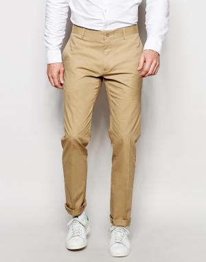 Vito Супероблегающие хлопковые брюки. Цвет: бежевый