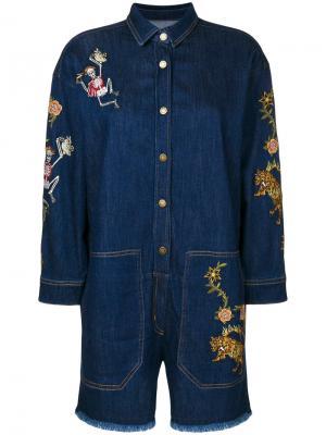 Джинсовый комбинезон с вышивкой Zadig & Voltaire. Цвет: синий