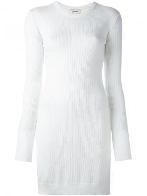 Платье с отделкой в рубчик Courrèges. Цвет: телесный