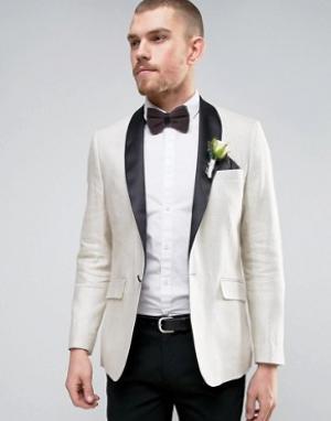 Gianni Feraud Узкий кремовый пиджак с шалевым атласным воротником Wedd. Цвет: золотой