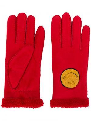 Перчатки Smiley Face Agnelle. Цвет: красный