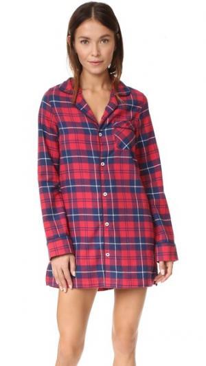Фланелевая ночная рубашка Audrey Three J NYC. Цвет: красный/темно-синяя клетка